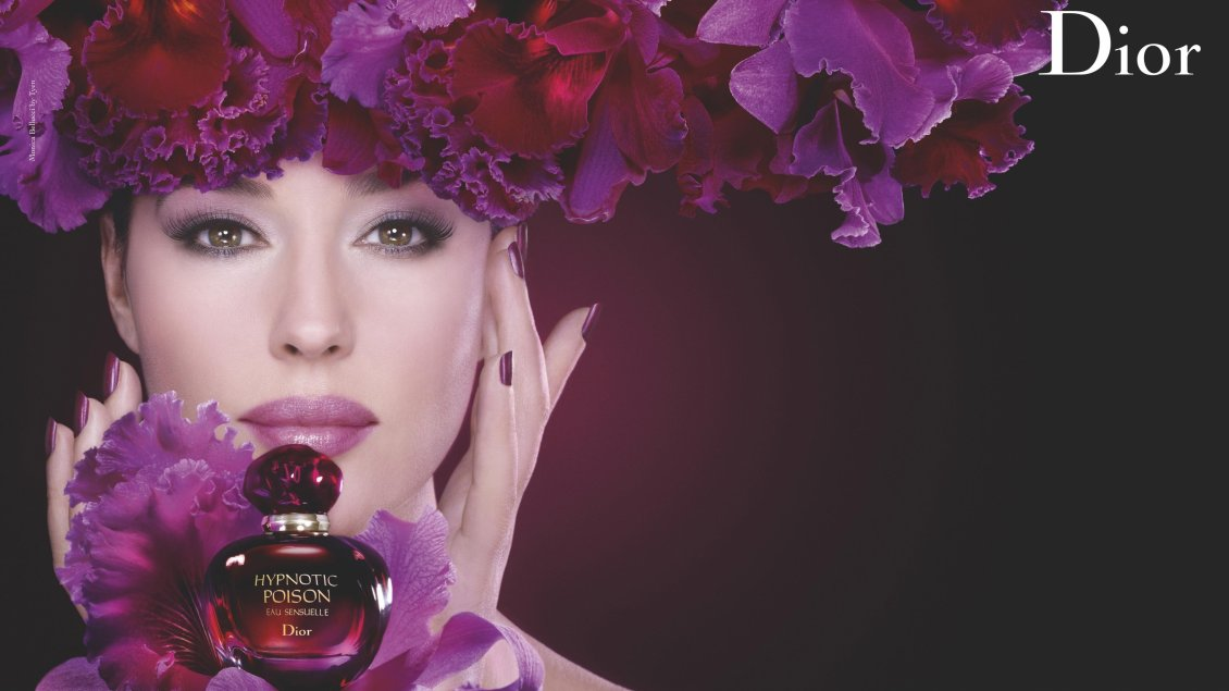 Download Wallpaper Pink flowers and a girl - Floral Fragrance Dior