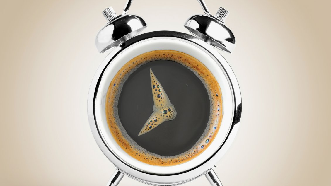 Download Wallpaper Clock pins made of coffee foam - Interesting clock