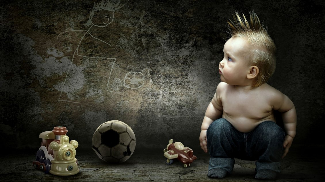 Download Wallpaper A sweet baby boy with crest loves football