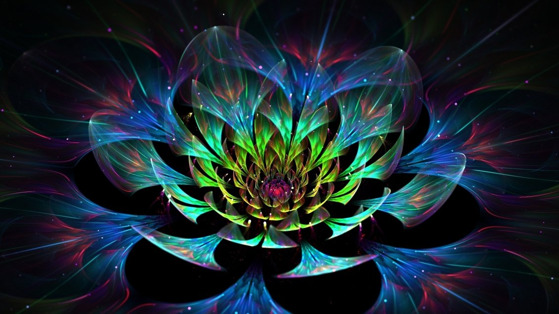 Abstract Colorful Lotus 3d Flower Art Design