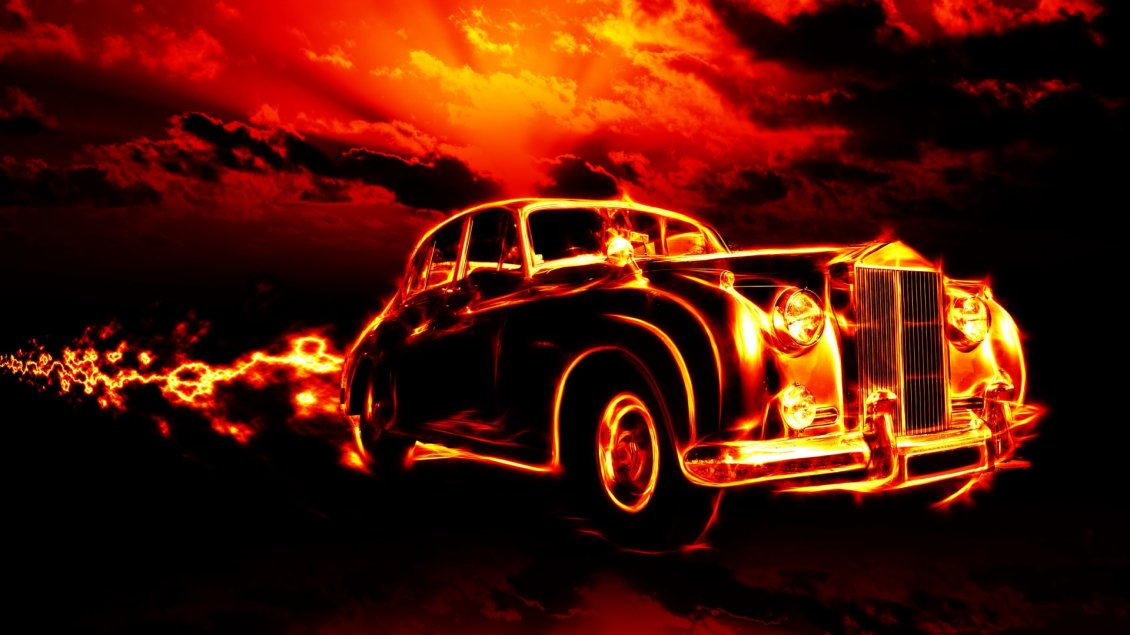Download Wallpaper Vintage car in flames - Dark wallpaper
