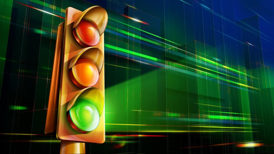 Download Wallpaper Green color on the 3D traffic light