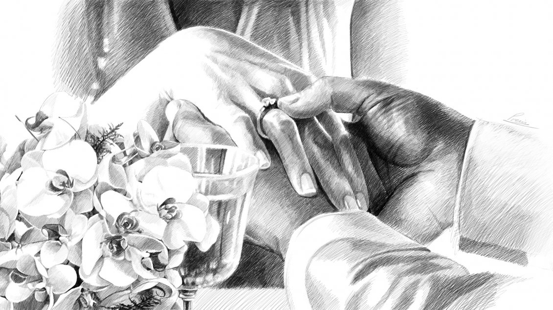 Download Wallpaper Wedding drawing - The hands of a couple