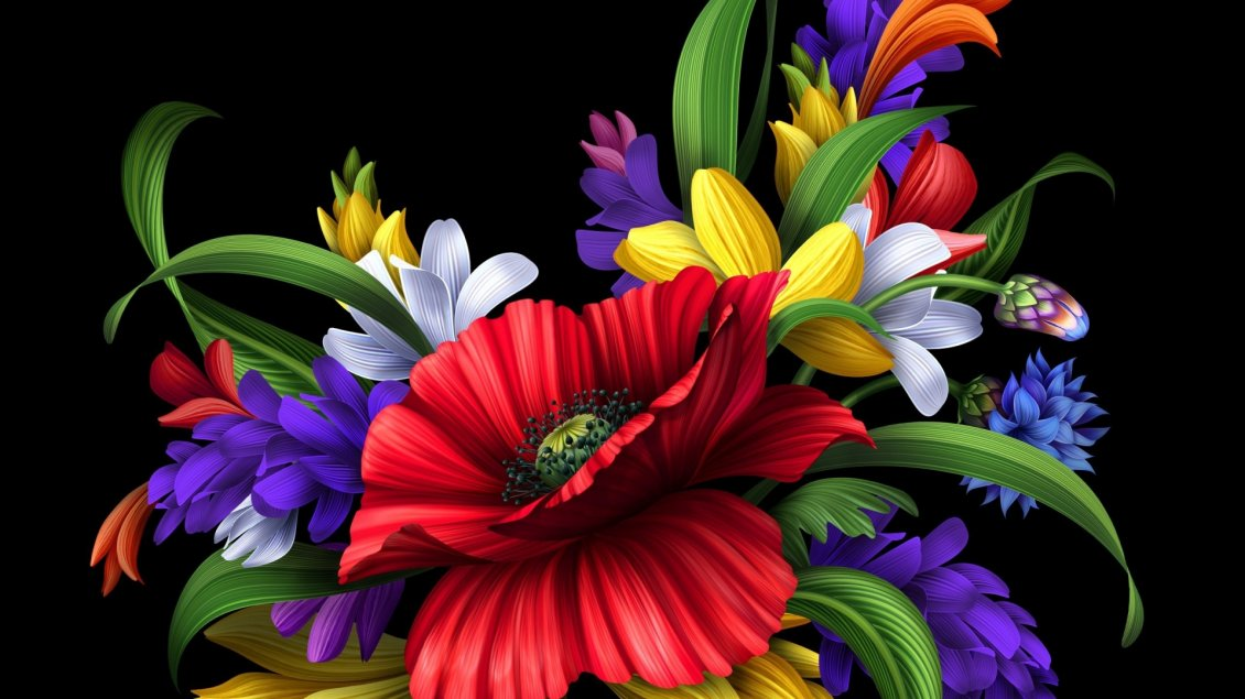 bouquet black background wallpaper - photo #19