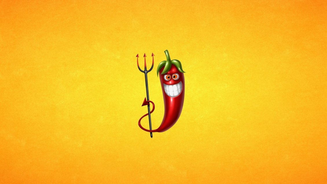 Download Wallpaper Little devil red hot pepper with fork - HD wallpaper