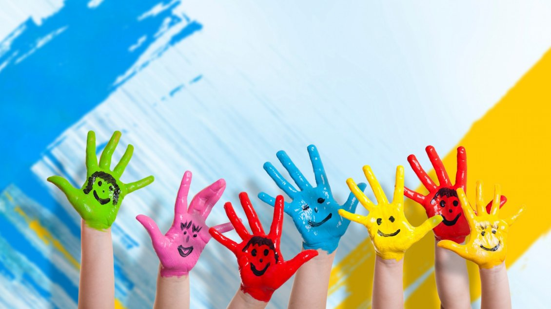 Download Wallpaper Happy colorful hands - Smiley face on the hands