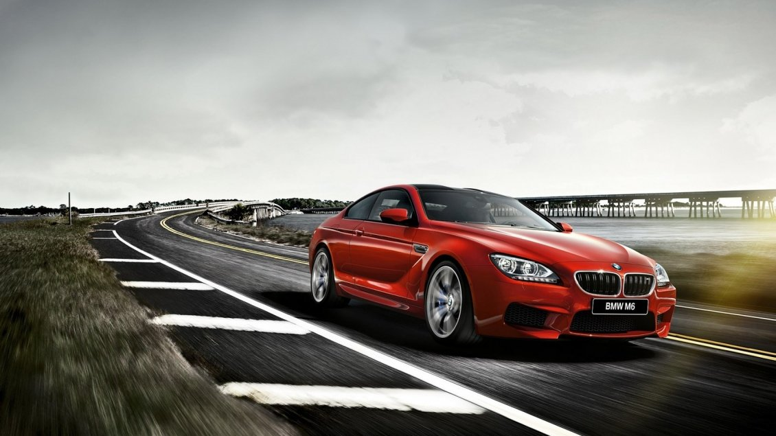 Download Wallpaper Red BMW M6 F13 Coupe on road - Gorgeous car