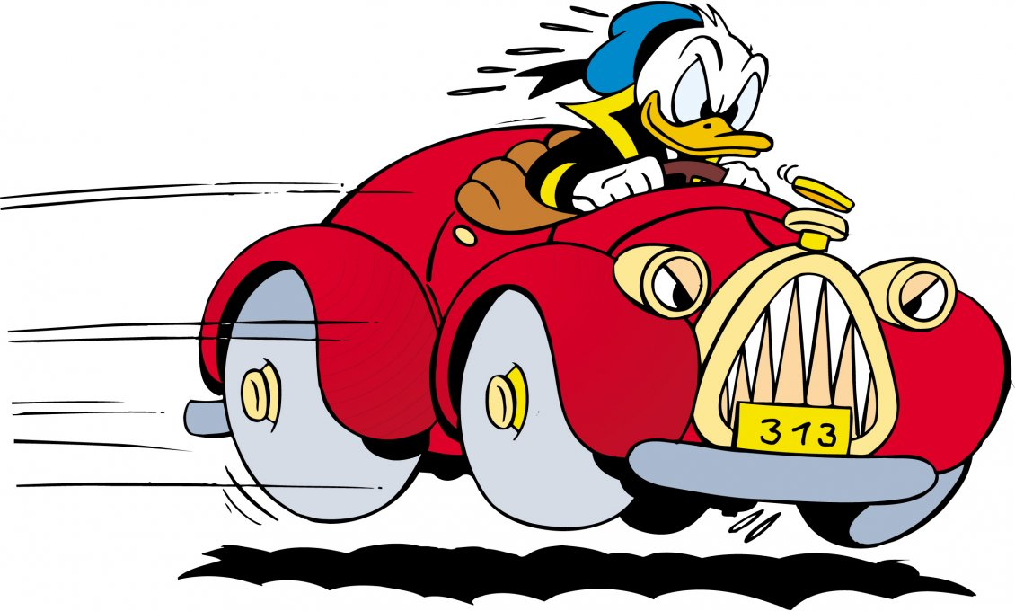 donald duck character drives speed a red car