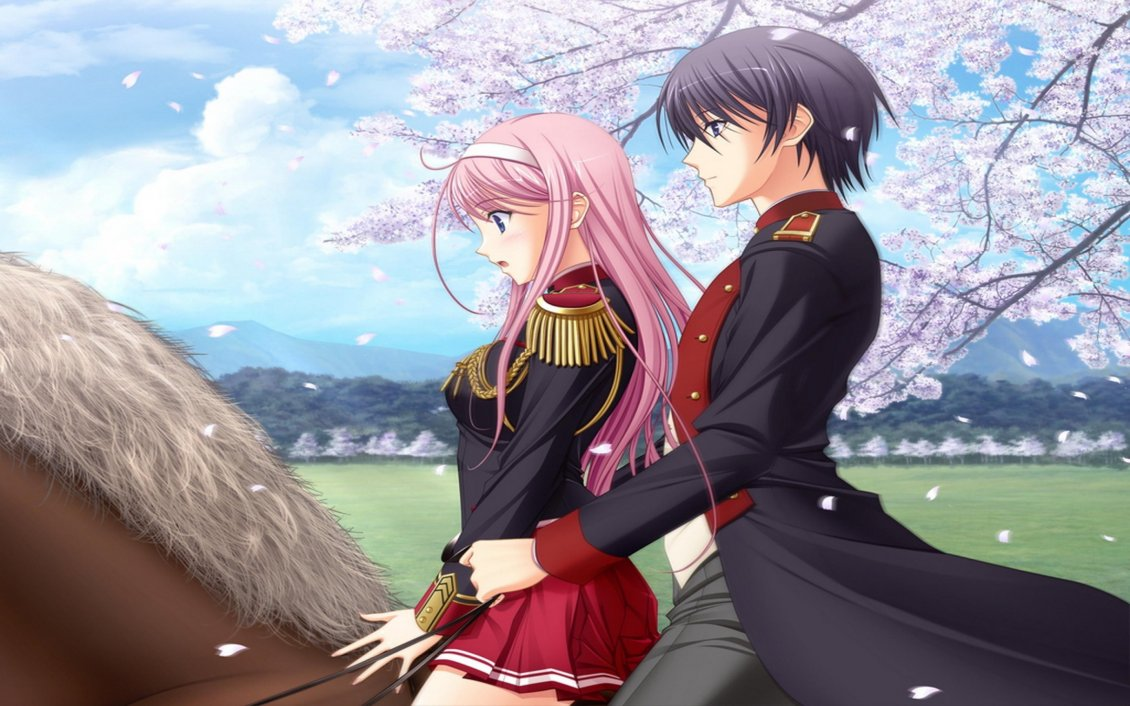 An Anime Couple On A Brown Horse In A Spring Day