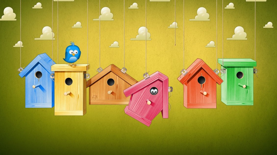 Cute Colorful Birds Houses