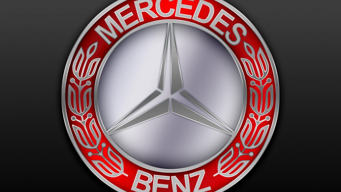 Download Wallpaper Red and gray Mercedes Benz logo