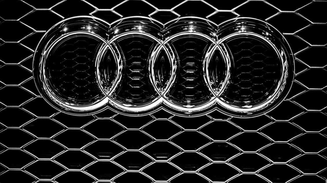 Download Wallpaper Audi emblem on a grille - Metal logo wallpaper