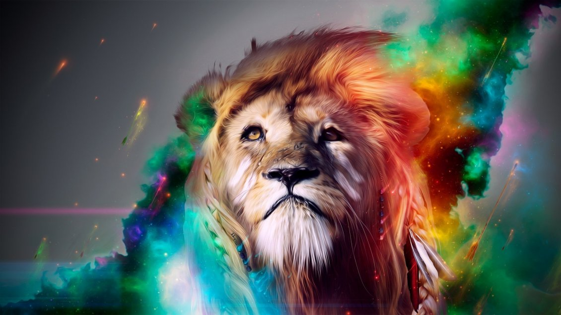 Download Wallpaper Abstract rainbow lion - Creative wallpaper