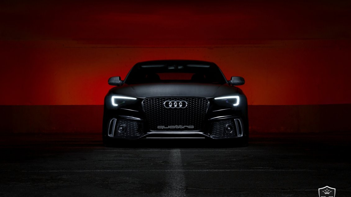 Black Audi S5 Front View Dark Wallpaper