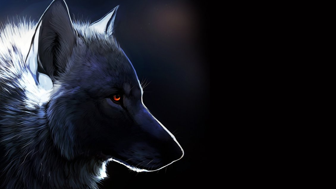 Download Wallpaper Black wolf drawing - Dark creative wallpaper