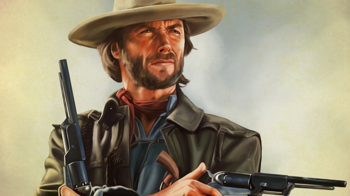 Clint Eastwood With Guns In Her Hands Artwork