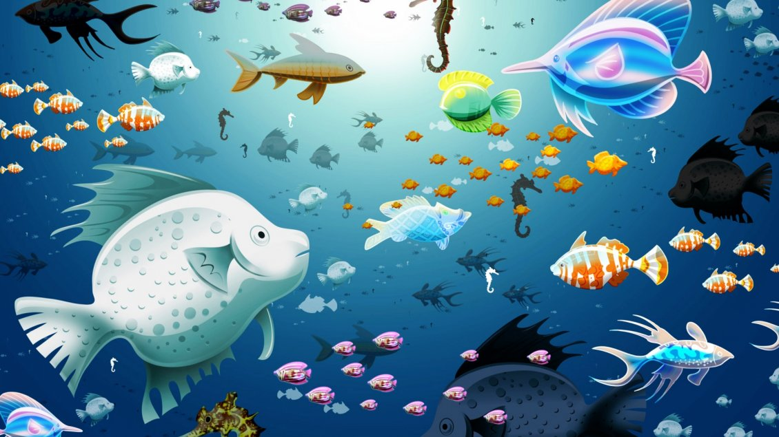 Download Wallpaper Many colorful fish in the blue water