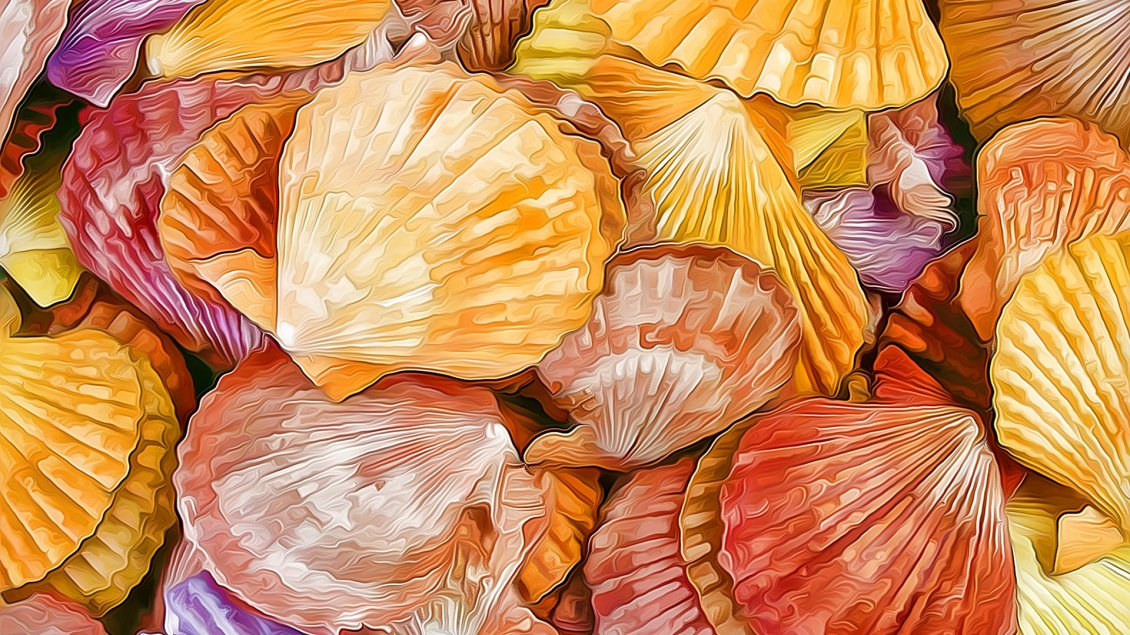 Download Wallpaper Colorful shells in a painting - Shells texture
