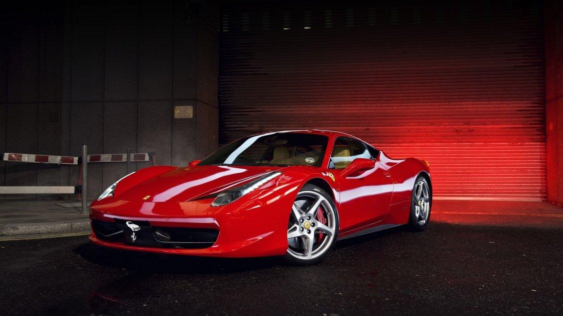 Red Ferrari 458 In Garage Sport Car