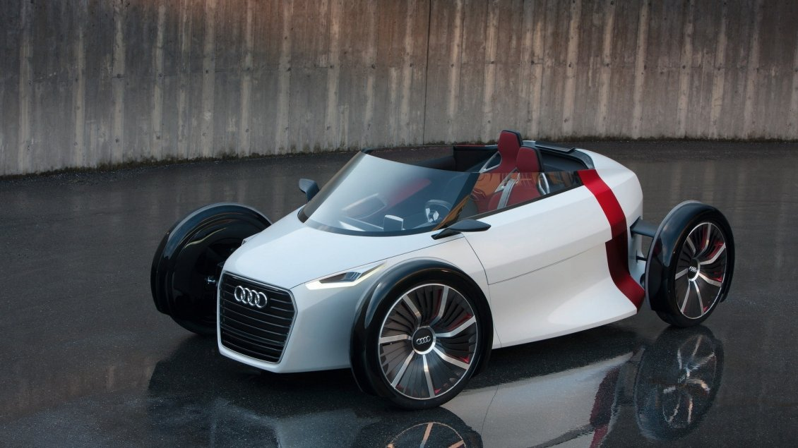 white audi urban concept small convertible car