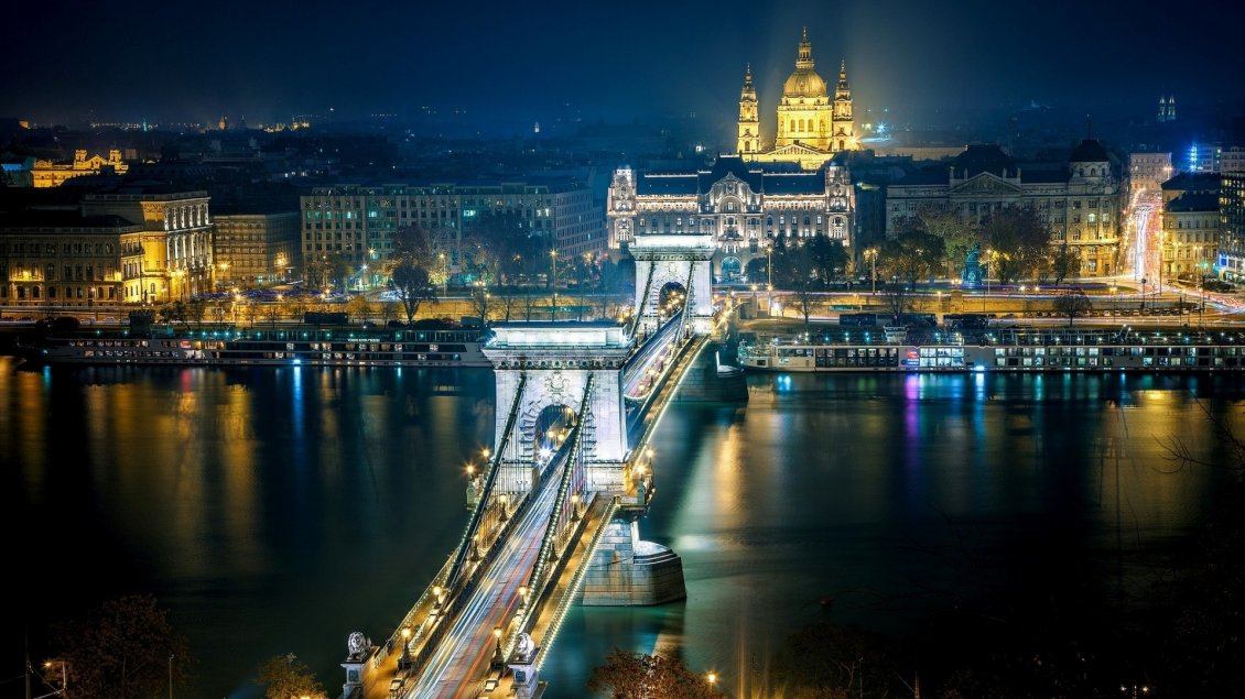 Download Wallpaper Szechenyi Chain Bridge from Budapest in night