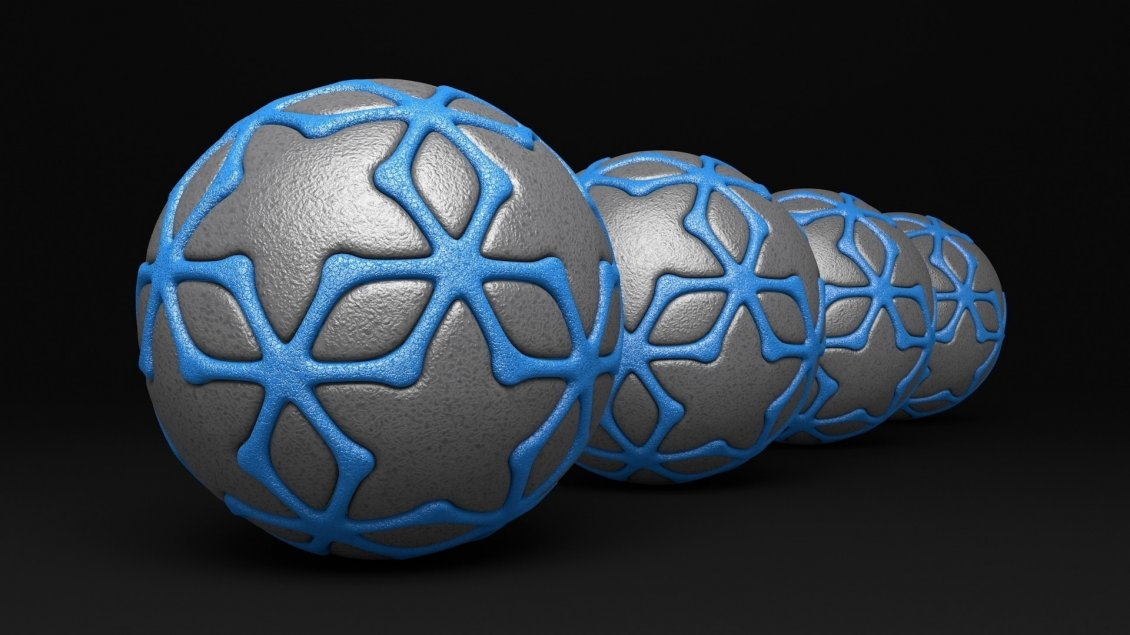 Download Wallpaper 3D gray balls with blue lines on black background