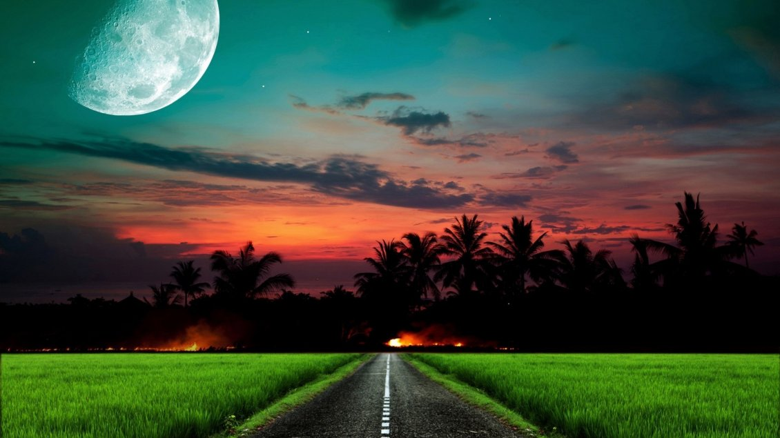 Download Wallpaper Straight road in the green field at sunset