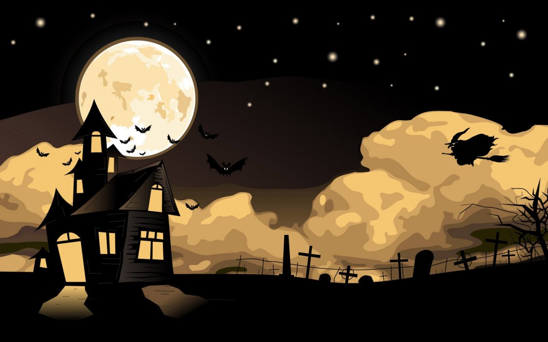 Download Wallpaper Scary night of Halloween - flitter-mouse and witch