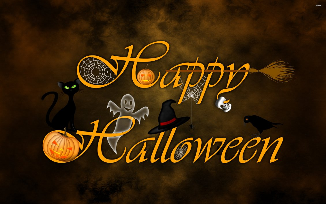 Download Wallpaper Trick or Treat - witch and pumpkins happy halloween night