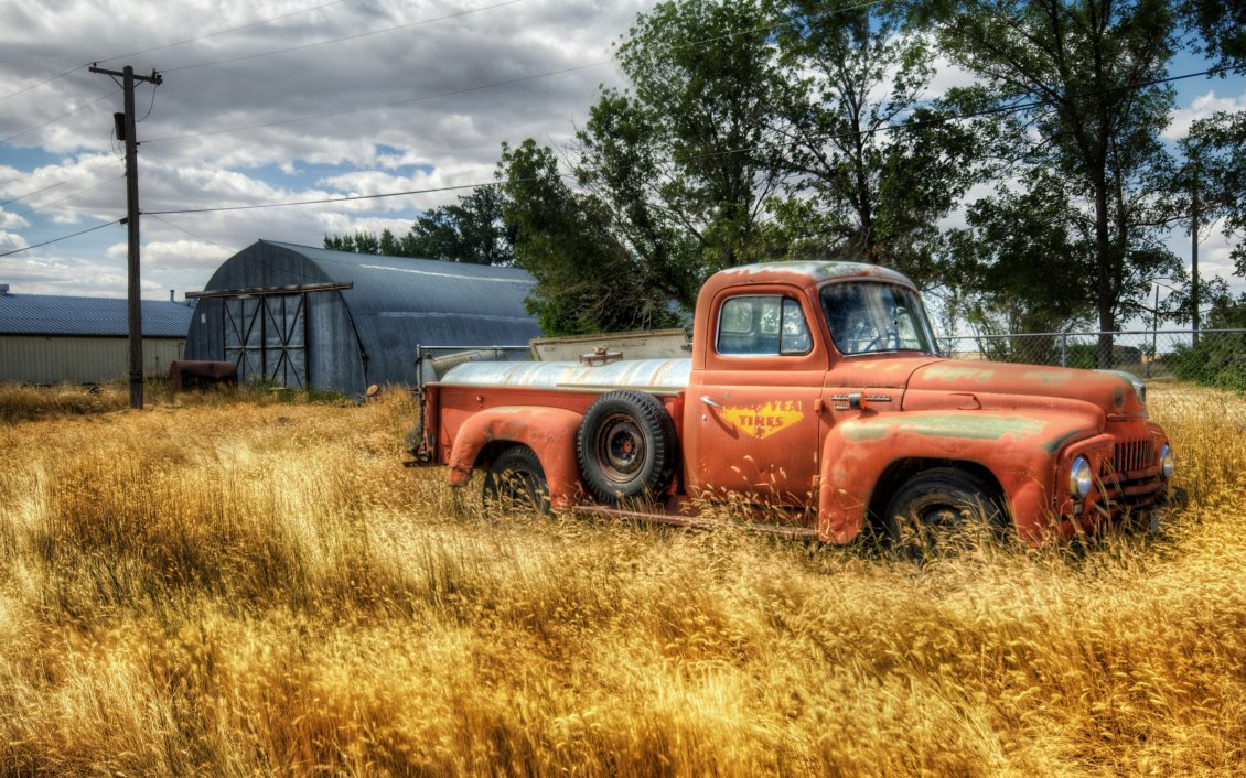 Old Red Truck In The Wheat Field  HD Wallpaper