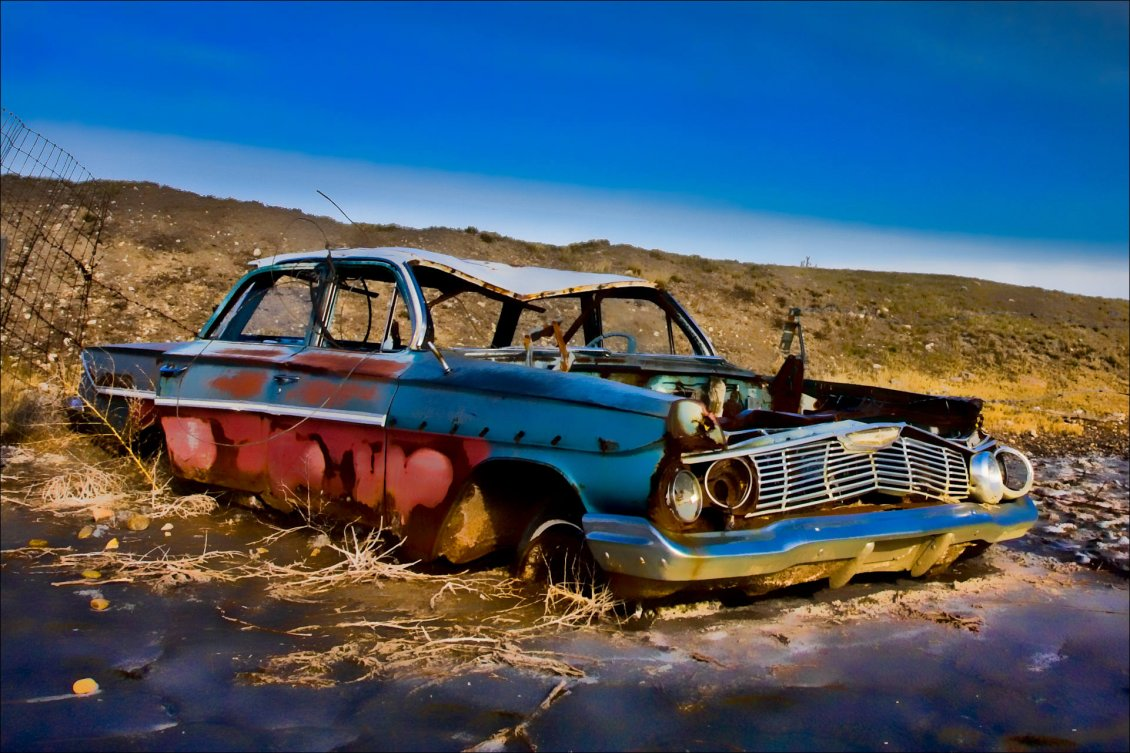 Old Car Destroyed On The Road Hd Wallpaper