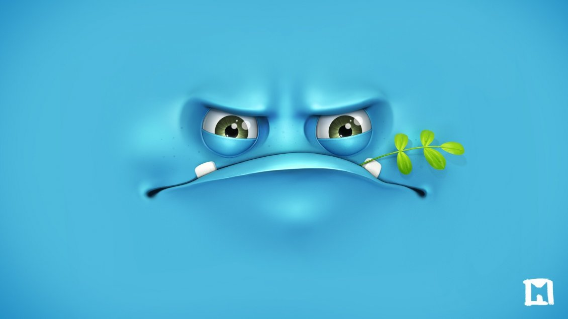 Download Wallpaper Funny blue monster - 3D Wallpaper