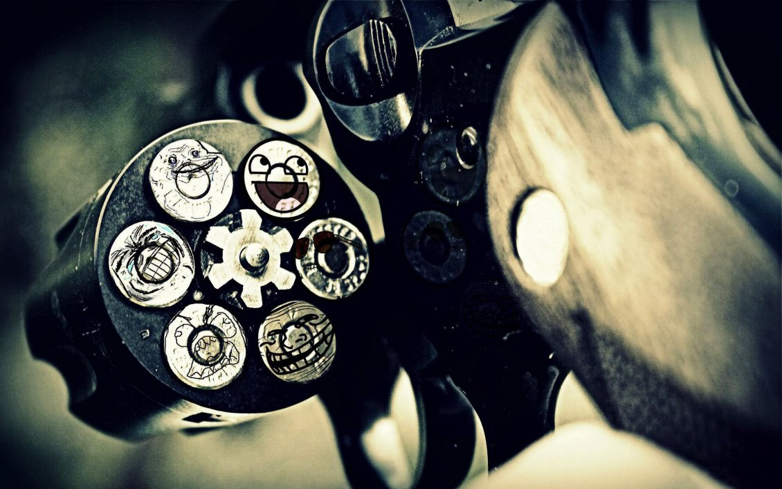 Download Wallpaper Funny gun - smiley face on every shot