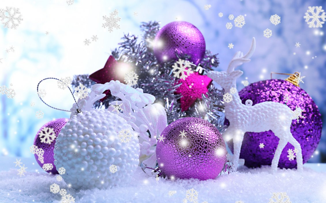 Shiny Purple And White Christmas Balls Big Snowflakes