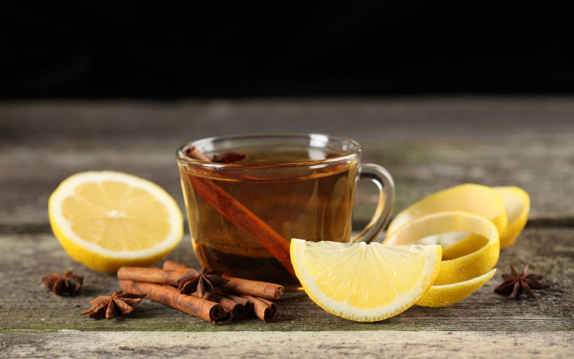 Hot Tea With Lemon And Cinnamon Winter Drink