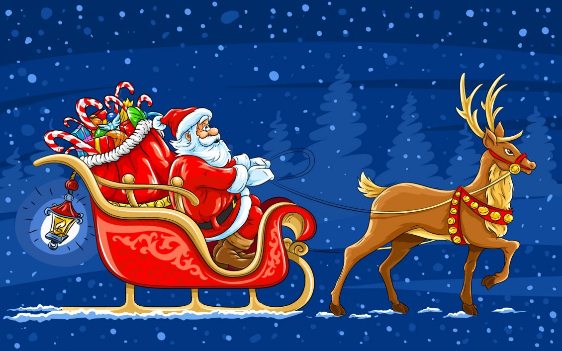 Santa Claus And His Big Bag With Toys Christmas Night