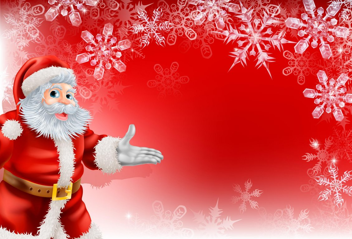 Download Wallpaper Red Christmas wallpaper - Santa Claus and snowflakes