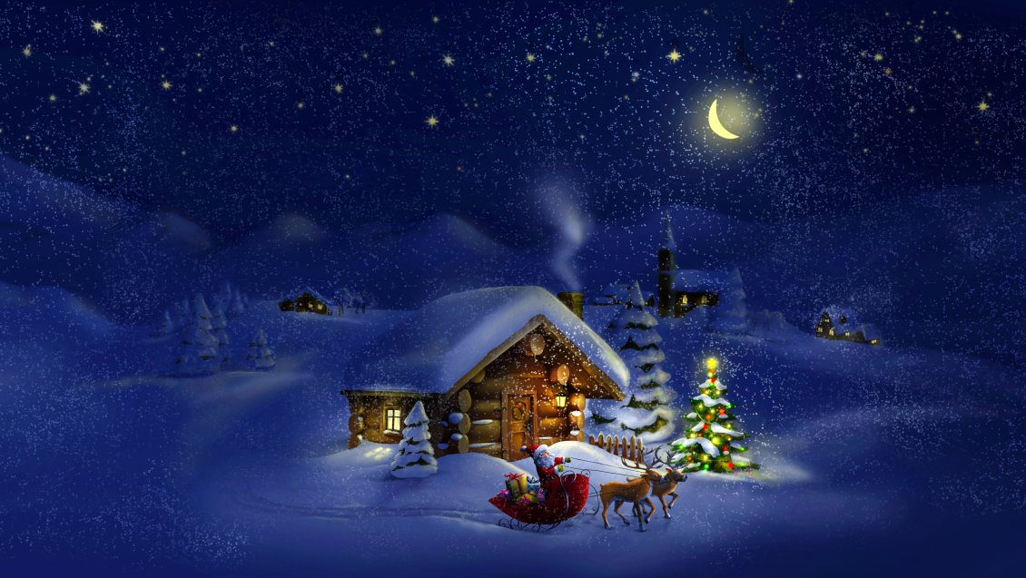 Beach Ford Service >> Beautiful magic Christmas night - village waiting for Santa