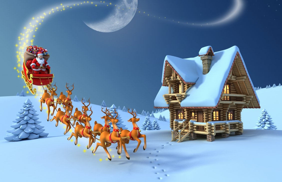 santa claus and his reindeers at north pole - Santa In The North Pole