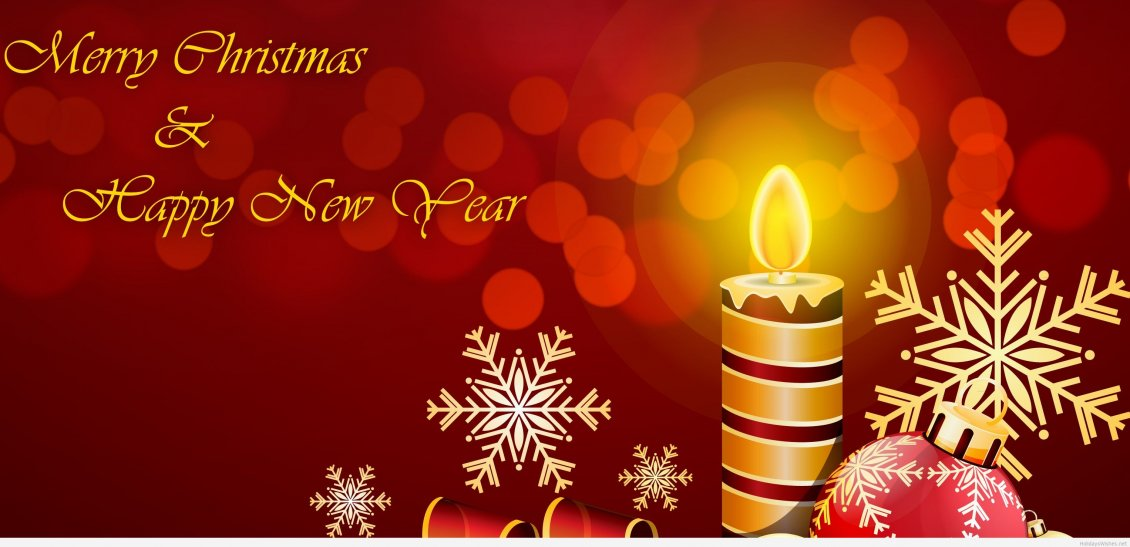 Merry christmas and a happy new year beautiful candle free image