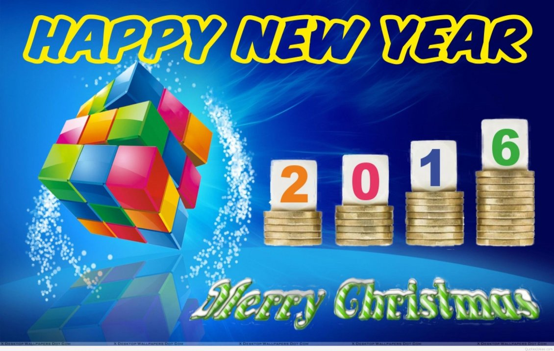 Download Wallpaper Colourful rubik cube - Happy New Year 2016