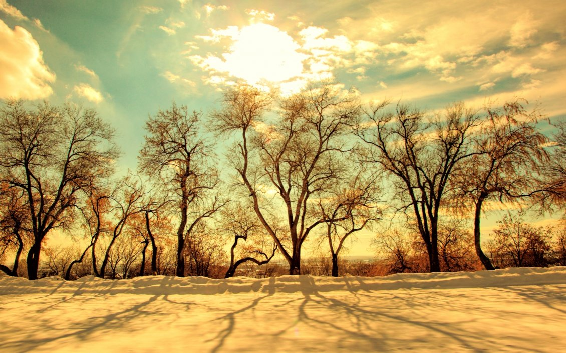 Beautiful Sunset Over The Nature In A Cold Winter Day