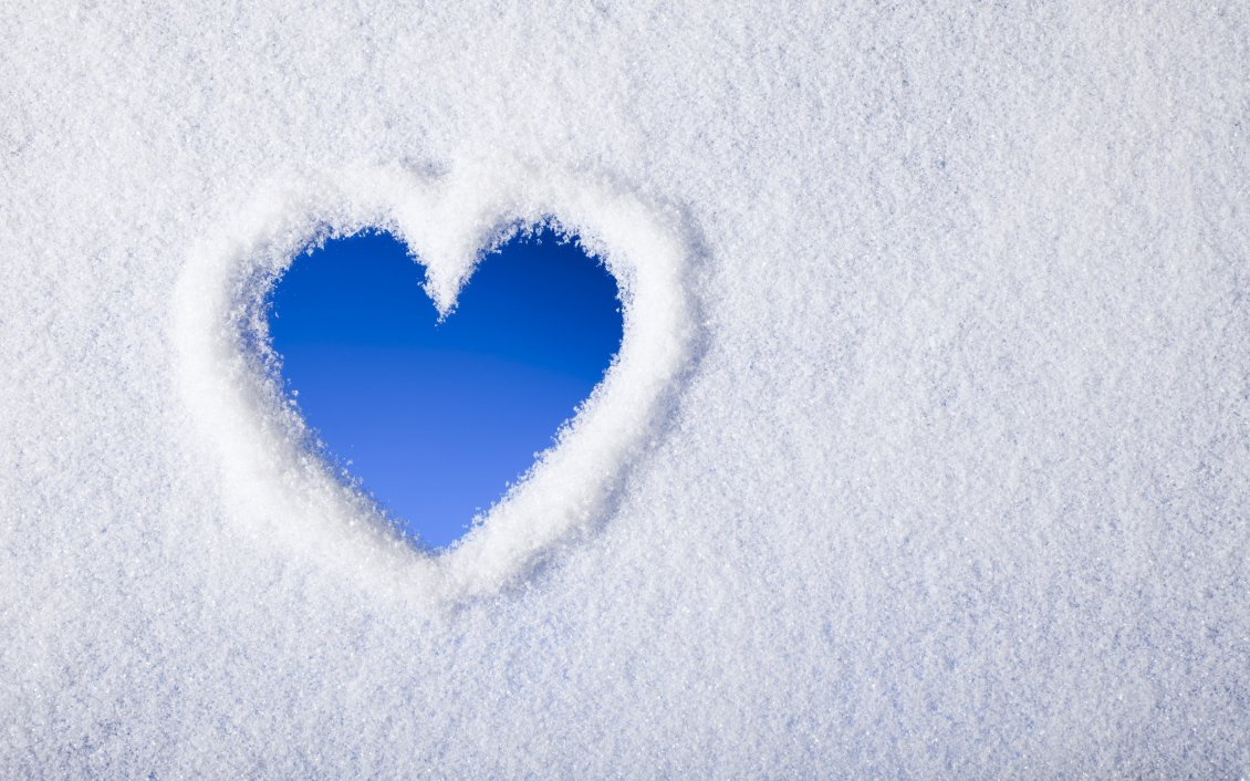 Download Wallpaper View the blue sky - heart from snow on the window