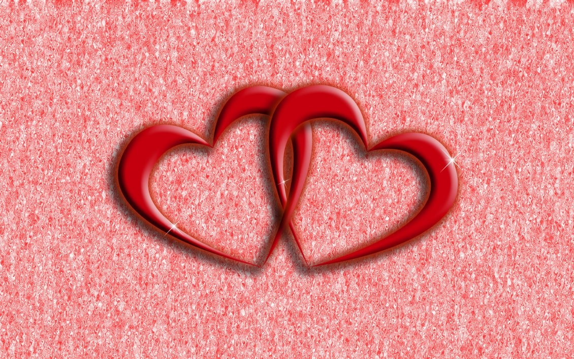 Download Wallpaper Two hearts of love - Happy Valentine's Day