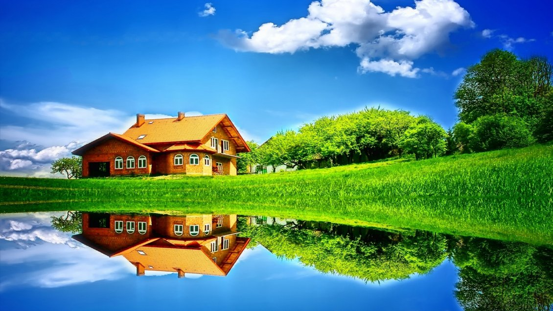 Download Wallpaper Wonderful house mirror in the lake - Sunny summer day