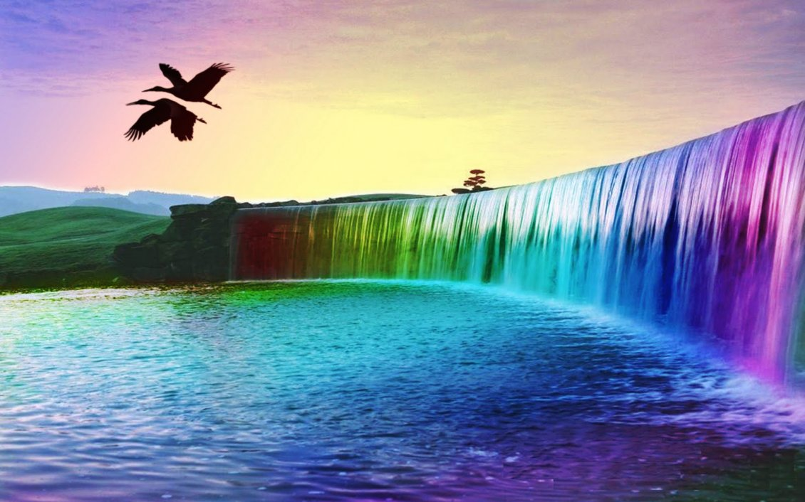 Download Wallpaper Wonderful 3D colourful waterfall - HD wallpaper