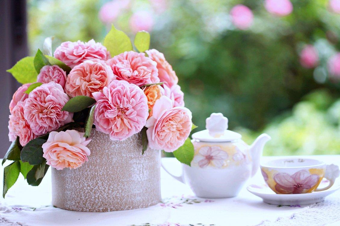 Good Morning Spring Season Flowers And Tea