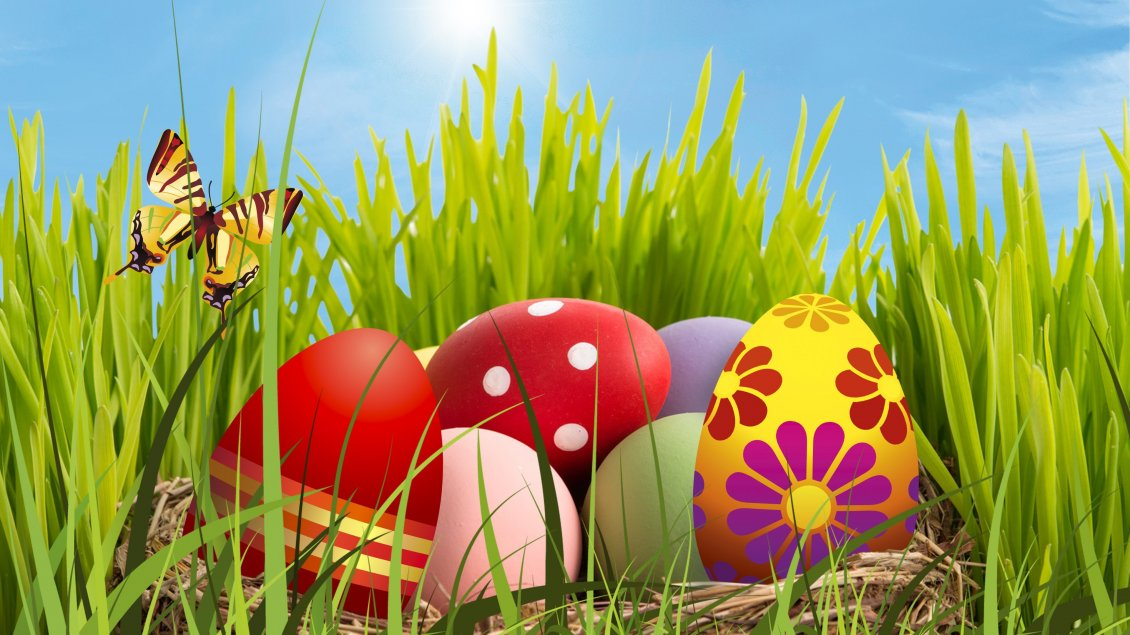 Download Wallpaper Colourful Easter Eggs In The Grass