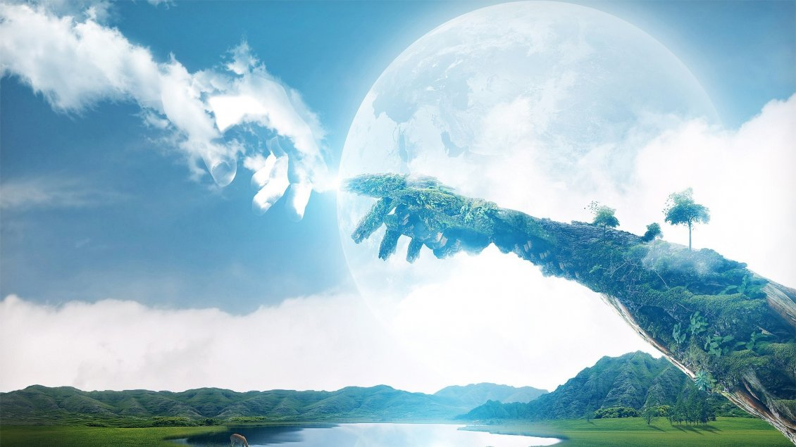 Download Wallpaper The power of Earth and sky  - 3D wonderful wallpaper