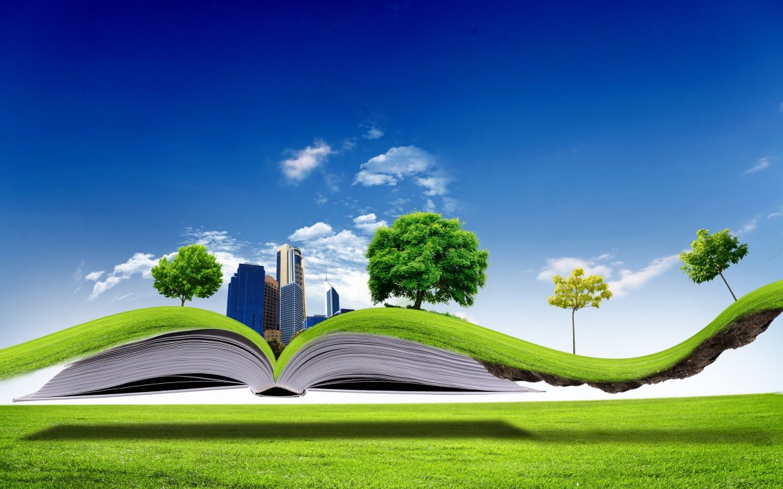 Download Wallpaper All nature in one book - 3D wallpaper